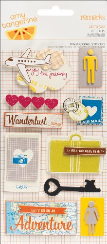 Dimensional Stickers Remarks (American Crafts - Amy Tangerine Collection - Remarks - 3 Dimensional Stickers - Let's Go)
