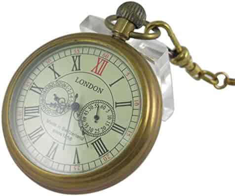 VIGOROSO Men's Vintage Full Copper Hand-Wind Mechanical Second&24hours Sub-dials Pocket Watch in Box