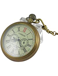 Men's Vintage Full Copper Hand-wind Mechanical Second&24hours Sub-dials Pocket Watch in box