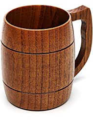 Beer Mug, 16 OZ Handmade Eco-friendly Wooden Mugs With Handle For Wine/Coffee/Tea, Best Gift Cups For Men/Women