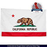 Front Line Flags California Republic State Flag - Premium Single-Sided 210D Oxford Nylon CA Bear Flag With Heavy-Duty Embroidery, Weatherproof 3x5 ft Golden State Banner For Home & Commercial Use.