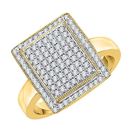 - KATARINA Diamond Square Cluster Halo Fashion Ring in 14k Yellow Gold (1/2 cttw, I-J, I1-I2) (Size-7)