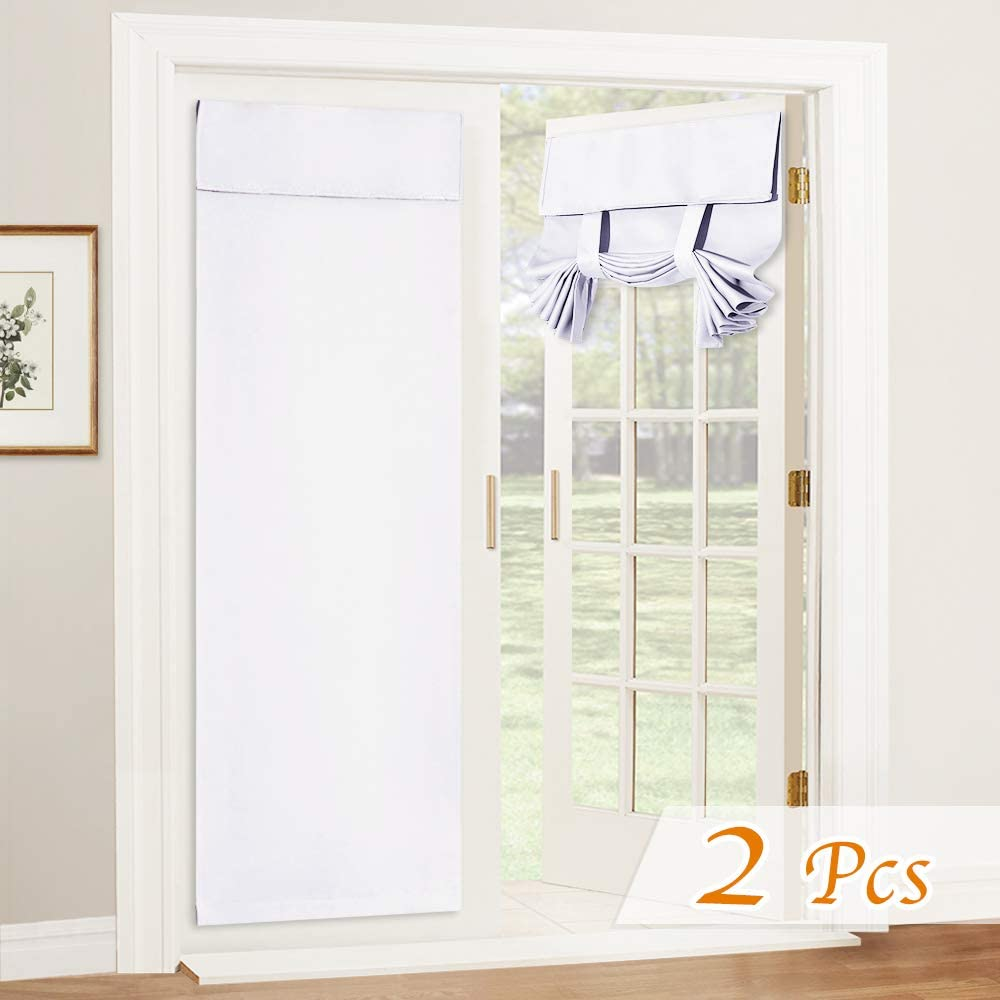 RYB HOME Privacy Door Curtains - Room Darkening French Door Curtain Sidelight Window Curtains for Tricia Door Portable Self Adhesive Drapes for Office, 26 inch Wide x 69 inch Long, 2 Pcs, Pure White
