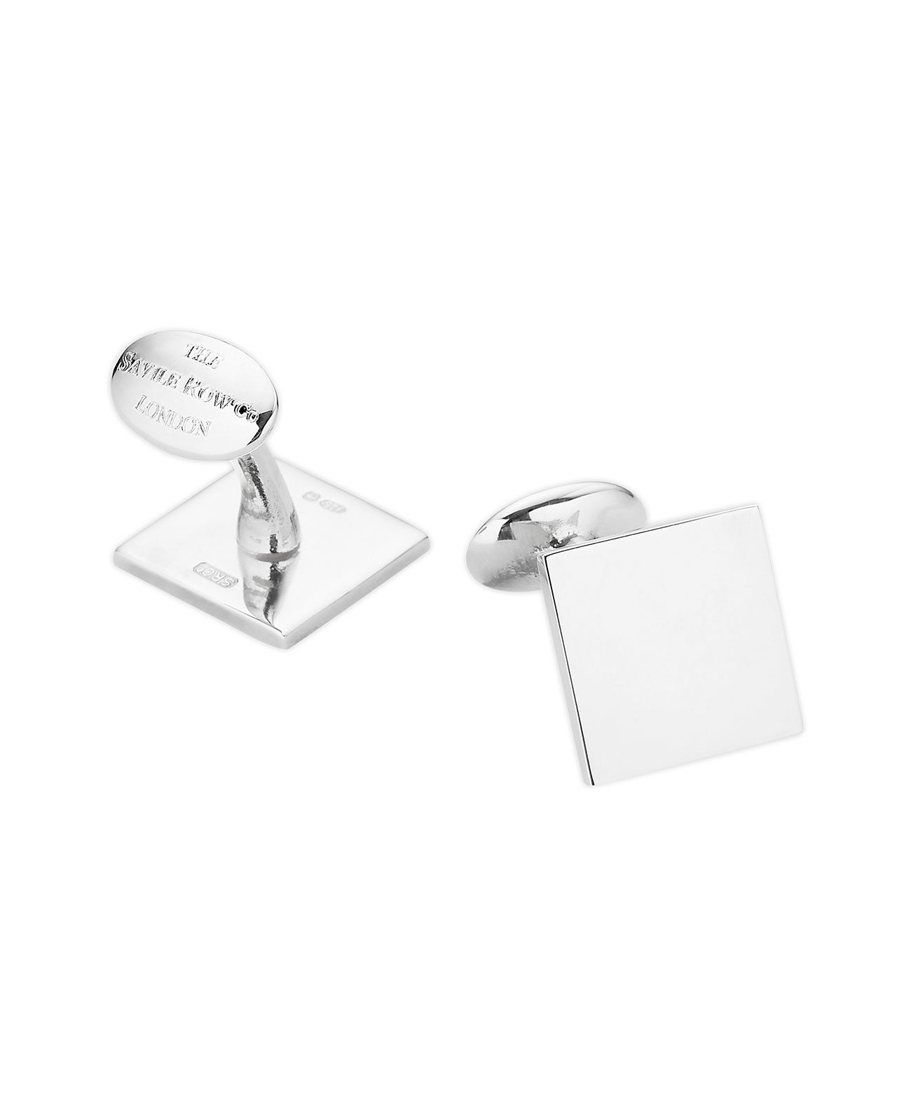 Savile Row Men's Engravable Sterling Silver Square Cufflinks