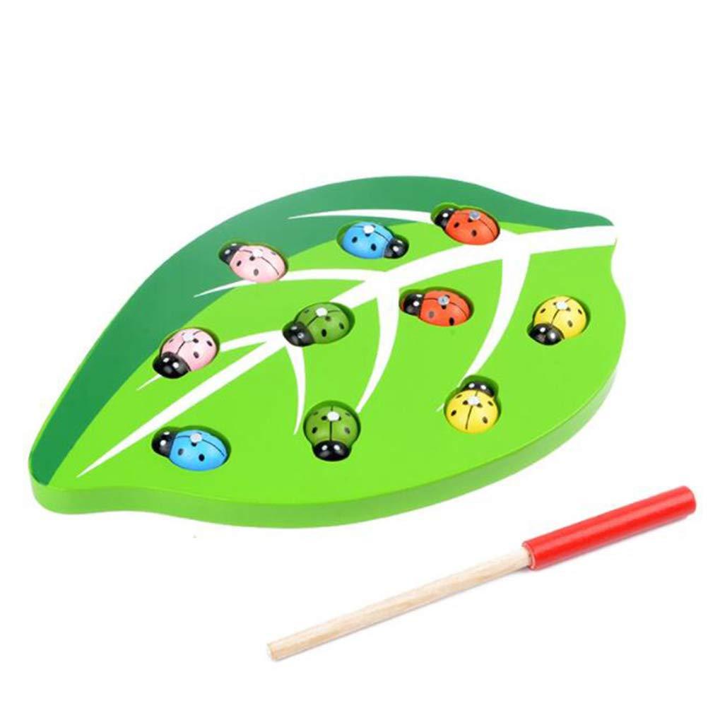 Faviye Jouets en Bois Magn/étique Jeu de Capture Insecte Coccinelle Jouets Educatifs pour Enfant