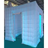 Stagerbooth® Inflatable Portable Photo Booth Enclosure with 16 Colors LED Changing Lights and Inner Air Blower for Weddings Parties Promotions Advertising (two doors)