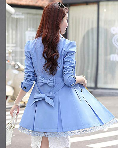 Ceinture Manteaux Azur Femme Veste Trench Double Yonglan avec Revers Longue Boutonnage zx4fwSBqP