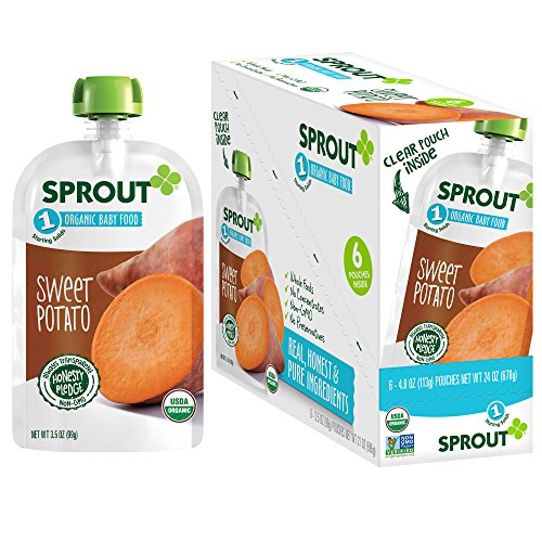Sprout Organic Baby Food Pouches Stage 1 Sprout Baby Food, Sweet Potato, 3.5 Ounce (Pack of 6); USDA Organic, Non-GMO, Made with Whole Vegetables, No Sugar Added, No Preservatives, Nothing Artificial (Veggie Sweet Potato Life)
