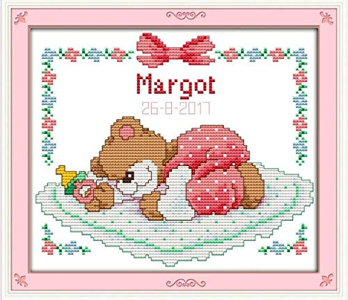Sleeping Baby Bear Cross Stitch kit Cartoon Animal Birth Record boy Girl aida 14st Stitches Embroidery DIY Handmade Needlework - (Color: Pink Bear, Cross Stitch Fabric CT Number: 14ct unprint Canvas)