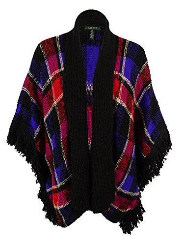 Lauren Ralph Lauren Womens Open Front Fringe Poncho Sweater Black (Ralph Lauren Poncho)