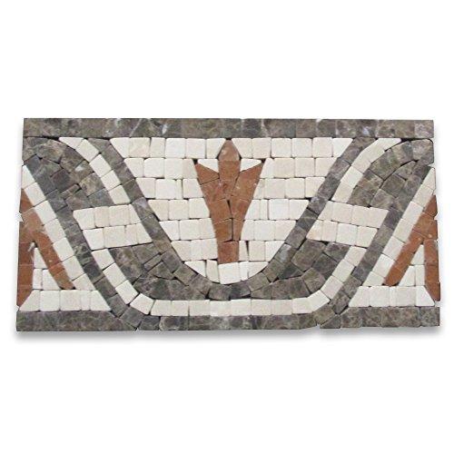 (Leaf Red 4x8 Marble Mosaic Border Tumbled)