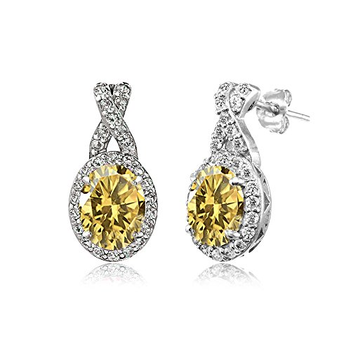 Oval Citrine Ring Shaped (Sterling Silver Citrine & White Topaz Oval and X Drop Earrings)
