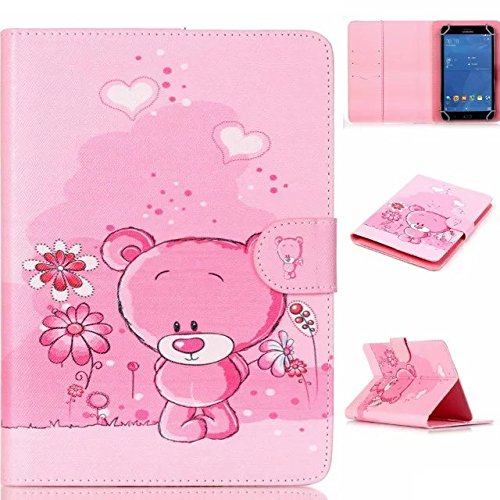 """Polaroid 7"""" Tablet Case,[Pink Bear] Universal Magnetic Wallet PU Leather Stand Case Cover with Built In Card Slots for Polaroid P700BK Quad-Core 7 Inch"""