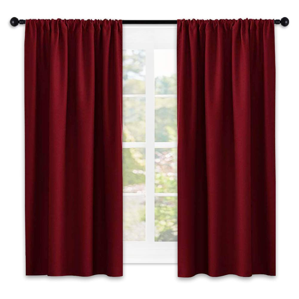 NICETOWN Black Out Curtain Panels for Kitchen - Energy Smart Decoration Thermal Insulating Blockout Drapes/Draperies for Small Window (2 Panels, 42 Inch Wide by 45 Inch Long) NICETOWN_Blackout_Petit