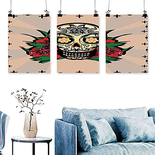 SCOCICI1588 3 Panel Canvas Wall Art Sugar Skull with Red Rose and Cross Spooky Halloween Horror Mystic Art Theme Print On Canvas No Frame 24 INCH X 40 INCH X -