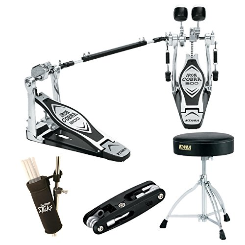 Double Pedal Bag - Tama HP200PTW Iron Cobra Double Pedal Deluxe Beginner Bundle, Includes Tama Drum Throne, Multi Drum Tool, Stick Bag and Drum Hammer