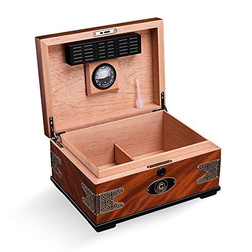 Jian E - (cigar box) - Cigar moisturizing alcoholized Box European Retro Printing Cedar Solid Wood Large Capacity by Jian E - (cigar box) (Image #3)