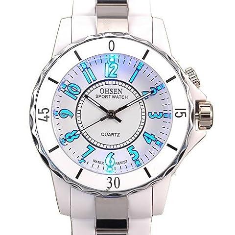 Ohsen White Color Womens Ladies Quartz Wrist Watch with 8 Color LED (Sport Watch Ladies)