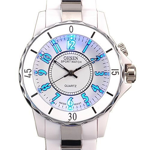 Ohsen White Color Womens Ladies Quartz Wrist Watch with 8 Color LED
