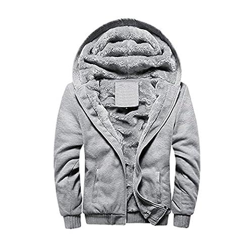 Rocky Sun Men Winter Hooded Jacket Hoodie Faux-Fur Lined Warm Coat Grey L