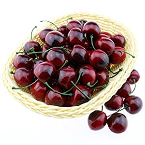 Gresorth 50pcs Artificial Lifelike Red Black Cherry Decoration Fake Chrries Fruit Home Party Christmas Display 75
