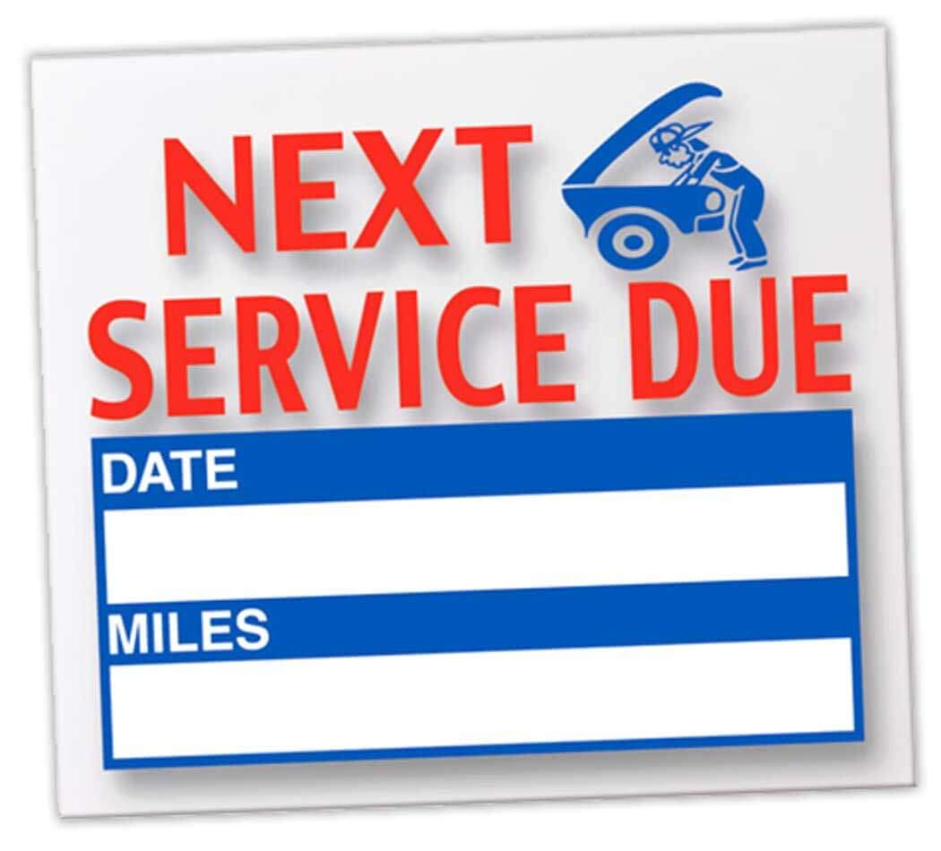 Donkey Auto Products Generic Next Service Due Reminder Stickers - Oil Changes, Tune-Ups, Tire Rotations - Static Cling (100 Per Pack)