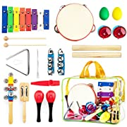 Harmonyster Musical Instruments Xylophone Set for Kids - 18pcs Baby Wooden Percussion Band Toys - Preschool Toddler Educational Learning - with Free Carrying Bag
