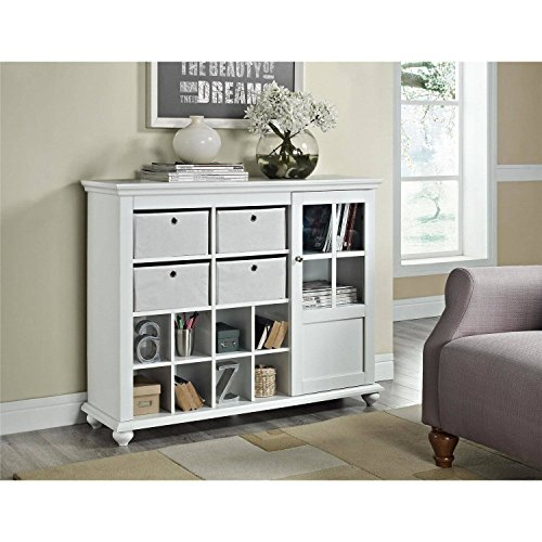 Stylish Indoor Storage Cabinet Designed, 4 Non-Woven Bins, 8 Cubbies, 1 Adjustable Shelf, Ample Storage Space, Sturdy Wood Construction, Glass Cabinet Door, Solid Wood Bun Feet, White Finish