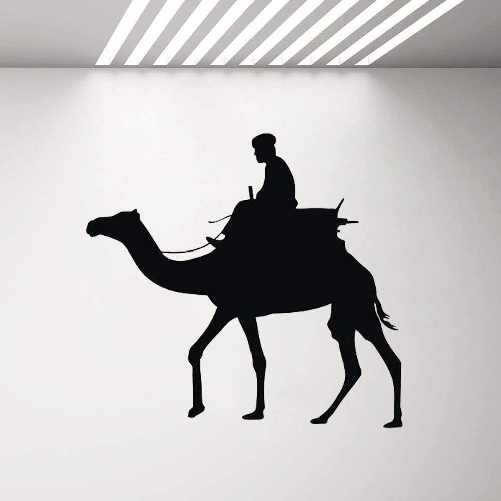 Camel Hombre Silueta Pared calcomanía Sala de Estar decoración del hogar árabe Desierto Vinilo Pegatina Dormitorio Arte Papel Pintado 91x85cm: Amazon.es: Hogar