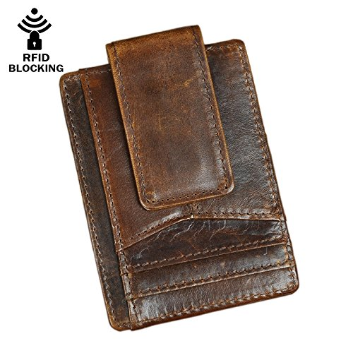 (Le'aokuu RFID Leather Minimalist Slim Wallet Front Pocket Card Case Money Clip (Coffee))