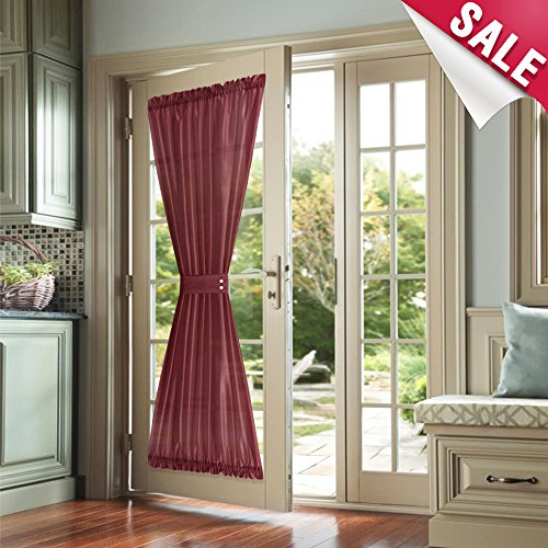 Privacy French Door Panel Curtains 72 inch Length Faux Silk French Door Curtain Panels Satin French Door Panels Burgundy Red, 1 Panels, Tieback Included