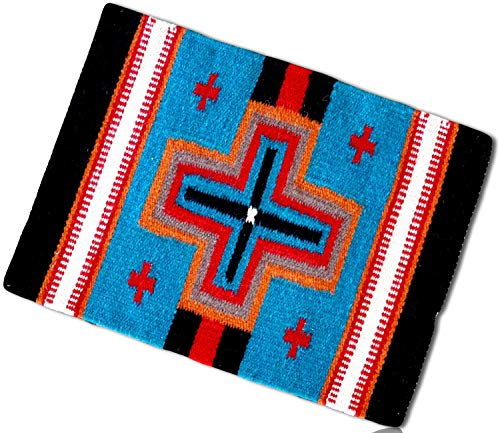 (Blue, Gold, Red Rectangle Southwestern Cross Plus Native American Geometric Pattern Mexican Fringed Blanket Table Placemats Made of 90% Wool & 10% Polyester yarn [1 Unit] + Certificate)