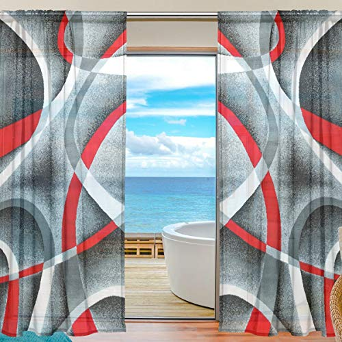 - HDMEI Gray Black Red White Swirls Gauze Sheer Curtains Tulle Drape Voile Panels for Bedroom,Window Sliding Glass Doors Decorative,2 Panels