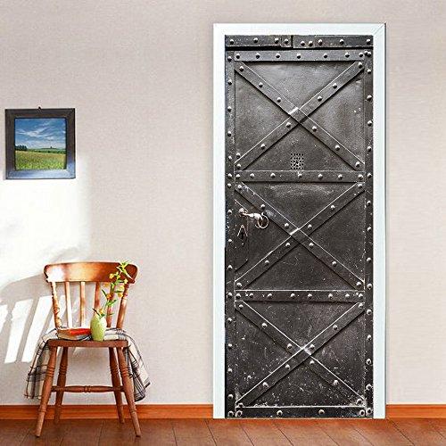 3D Iron Gate Door Sticker Home Decoration Door Wall Paper Mural PVC Waterproof Self-adhesive Peel and Stick Door Murals Wallpaper Art Decorative Wallpaper 3D for Bedroom 30 x 787 inch