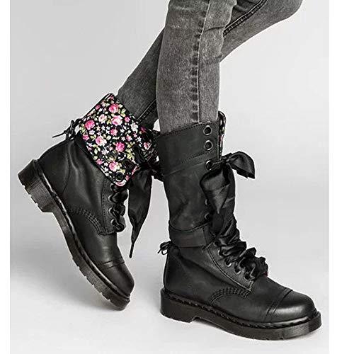 Noir Bout À Chaussures Rond Boots Rivet Sans Binggong Semelle Rétro Lacets Cuir Pour De Femme Femmes En Intermédiaire Noël Bottes qOgnx8wHg
