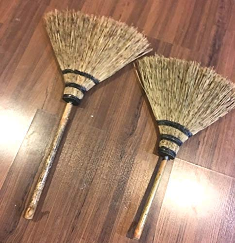 26 Elephant Eyelash Grass Natural Hand Grass Broom Thai Broom Witch Broom Broomstick Solid Wood Handle with Natural Hook with Handle House Warming Gift Traditional Cleaning Supplies