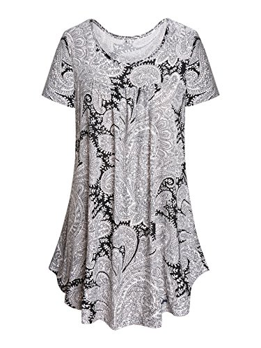 Paisley Design Shirt (Gessy Short Sleeve Shirts for Women Cotton Blouse Pretty Unique Design Round Neck Floral Paisley Causal Holiday Wear Flare Bottom Pleated Casual Tshirt Lightweight Comfortable Tunic Black/White XXL)