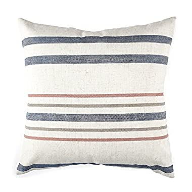 Homier Striped Linen Blend Decorative Throw Pillow Case Cushion Cover - Nautical Narrow Stripe - Navy Blue/Maroon Red/Olive Green/White - Large, 20 x 20