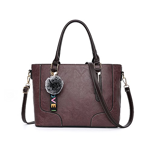 Tisdaini Dama bolso de mano moda casual PU piel bolso bandolera bolsas de Púrpura