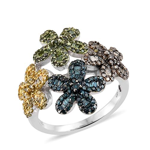 925 Sterling Silver Platinum Plated Round Blue Sapphire Yellow Diamond Ring Size 7 Cttw 0.1 -
