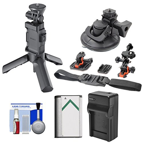 Price comparison product image Sony VCT-STG1 Shooting Grip & Tripod for AS50,  AS200V,  AS300,  X1000V,  X3000 Action Cams + Suction Cup & Helmet Mounts + NP-BX1 Battery & Charger Kit