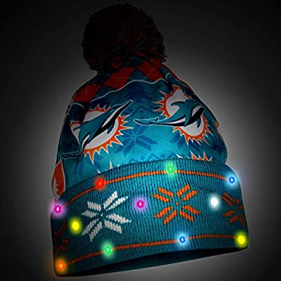 NFL Miami Dolphins Busy Block Printed Light Up Beanie, One Size, Green