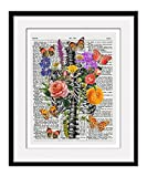 """Rib Cage With Flowers and Butterflies 11x14 Inch Reproduction Vintage Dictionary Art Print With """"Butterfly"""" Definition - Unframed"""