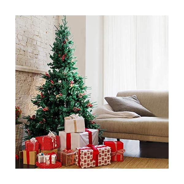 Kranich 1,5 m Albero di Natale da con pigne e Bacche Rosse, Montaggio rapido incl. Supporto per Albero di Natale, Decorazioni Natalizie 5 spesavip