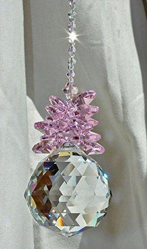 Crystal Ball Pineapple Pink Rose Suncatcher, Baby Girl Shower, Rainbow Maker, Window Lightcatcher Ornament,