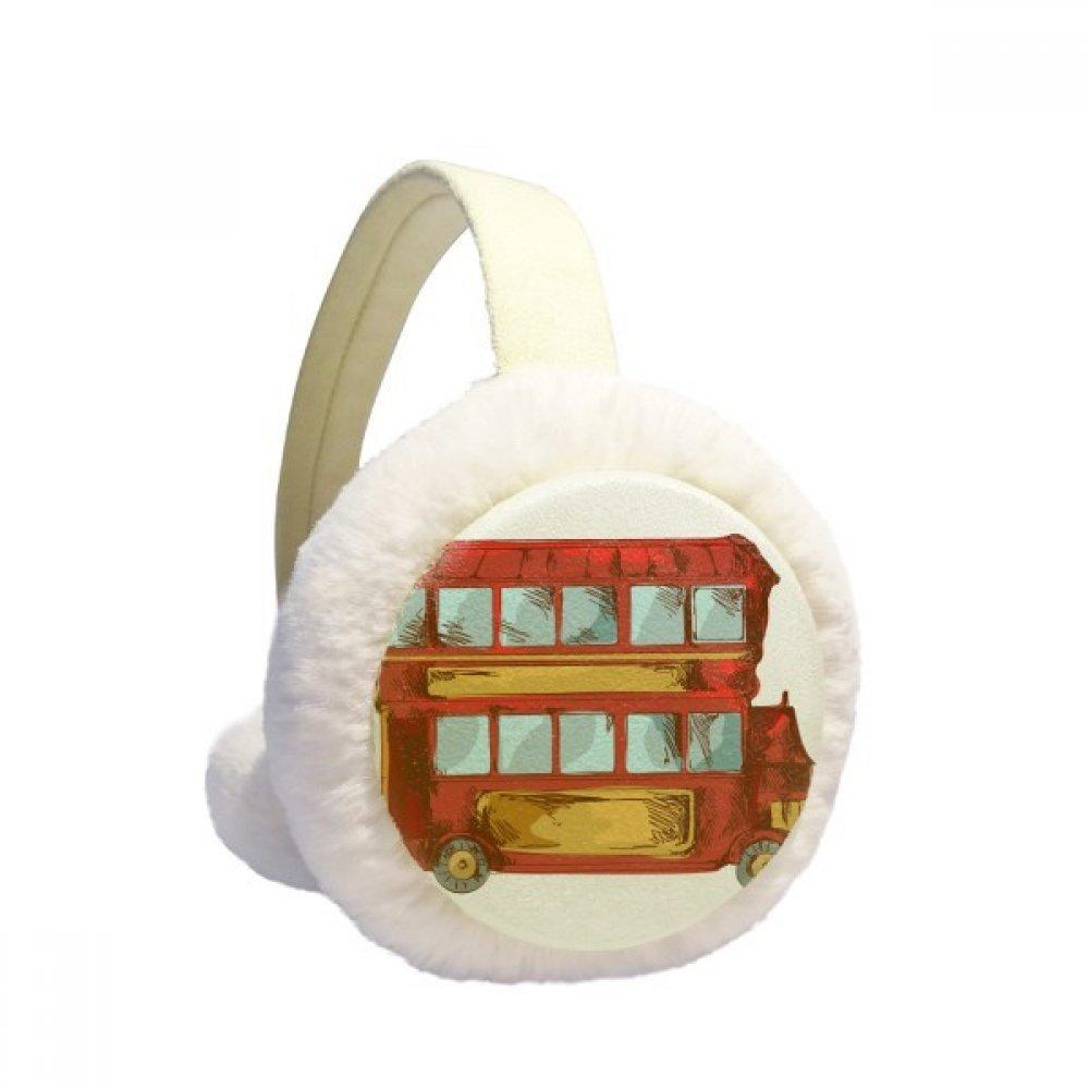 Cartoon Doubledecker Britain Country Winter Earmuffs Ear Warmers Faux Fur Foldable Plush Outdoor Gift
