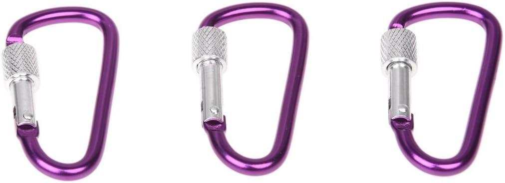 CUHAWUDBA 3 Pezzi 5,8cm Viola in Lega di Alluminio D-Come Le Clip Vite di bloccaggio Moschettoni