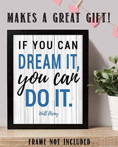 "Walt Disney Quotes Wall Art- ""If You Can Dream It, You Can Do It!""- 8 x 10"" Rustic Wood Sign Replica Print- Ready to Frame. Home Décor- Office Décor. Perfect Gift for Motivation & Inspiration."