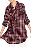 Red And Black Lurex Long Plaid Woven Top