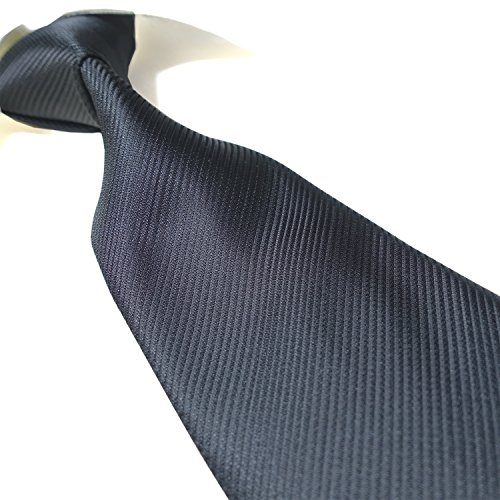 Black Tie Long Extra (Extra Long Fashion Tie Solid Mens Necktie XL Woven Jacquard Handmade (Black))